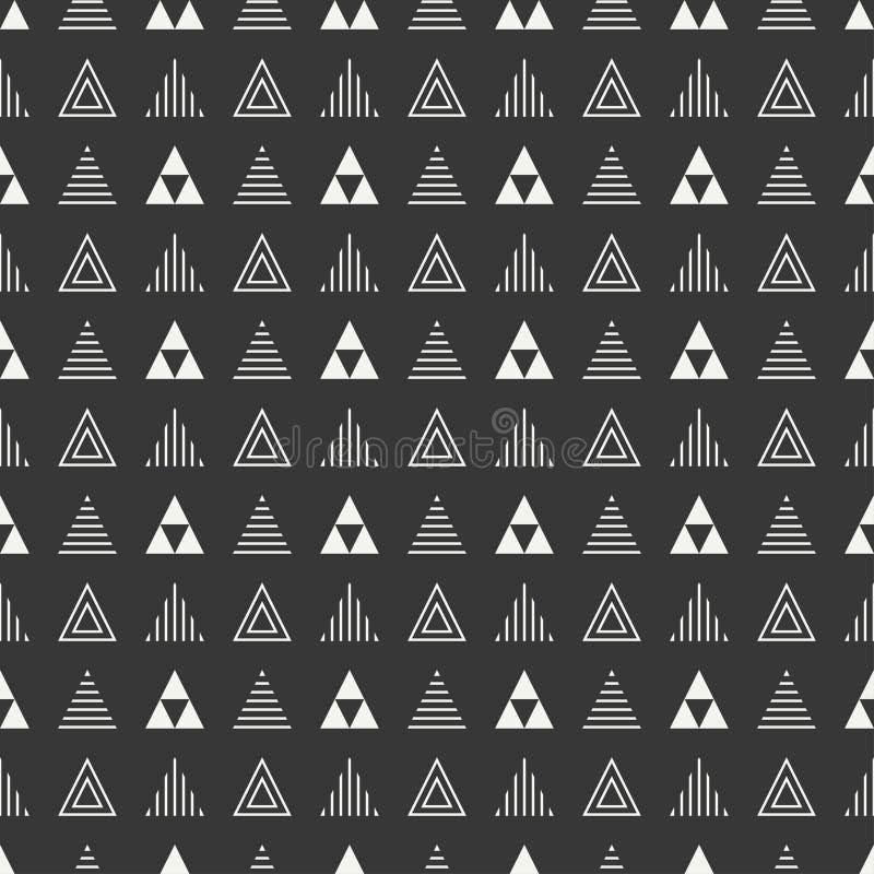 Línea geométrica modelo inconsútil del inconformista abstracto monocromático con el triángulo Papel de embalaje scrapbook impresi stock de ilustración