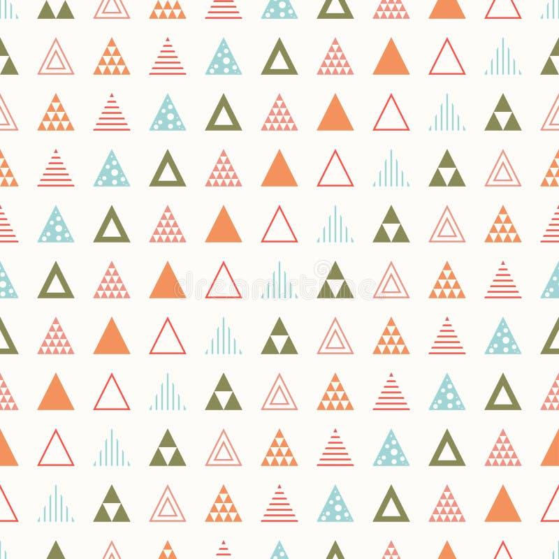Línea geométrica modelo inconsútil del inconformista del extracto del color con el triángulo Papel de embalaje scrapbook impresió stock de ilustración