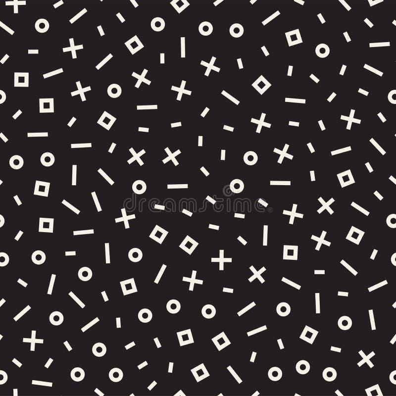 Línea geométrica retra modelos inconsútiles de las formas Texturas abstractas del revoltijo Formas dispersadas blancos y negros stock de ilustración