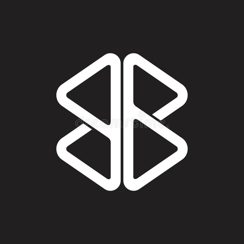 Línea geométrica simple vector del triángulo del bb abstracto de la letra del logotipo ilustración del vector