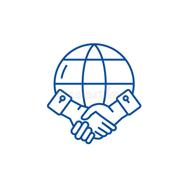 Línea global concepto de la sociedad del icono Símbolo plano del vector de la sociedad global, muestra, ejemplo del esquema stock de ilustración