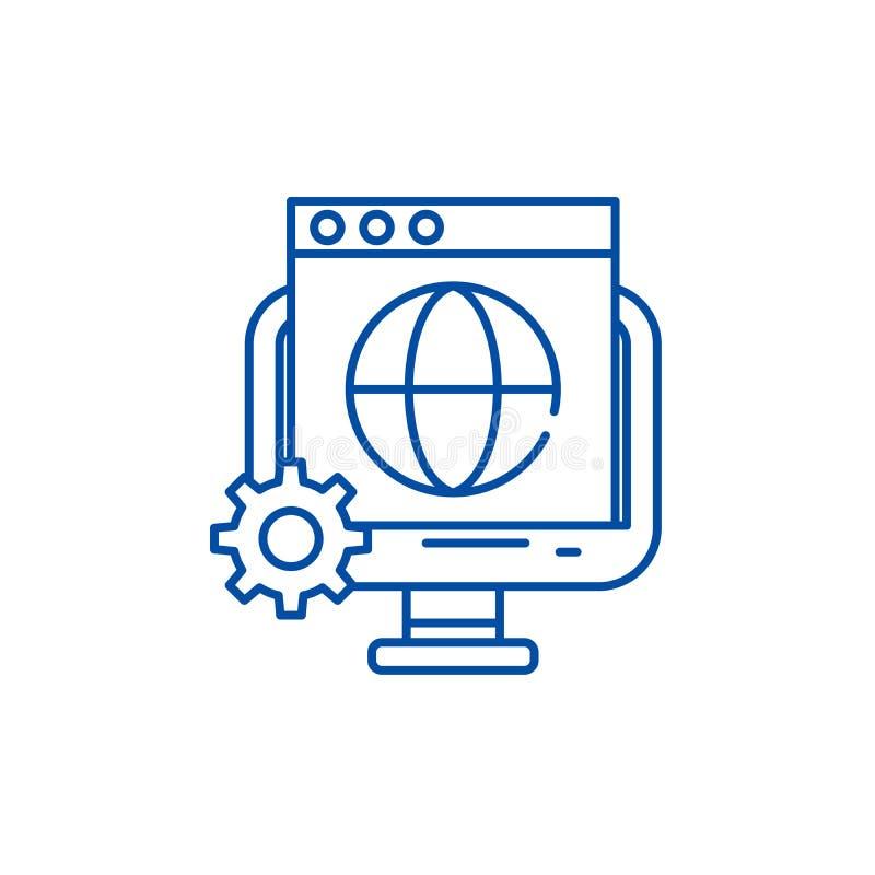 Línea global concepto del seo del icono Símbolo plano del vector del seo global, muestra, ejemplo del esquema stock de ilustración