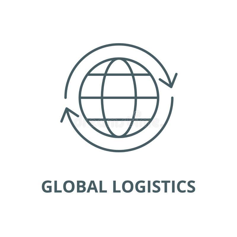 Línea global icono, concepto linear, muestra del esquema, símbolo del vector de la logística libre illustration