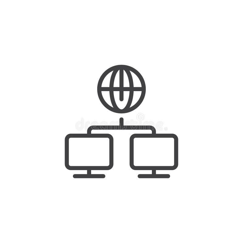 Línea global icono de la conexión del ordenador stock de ilustración