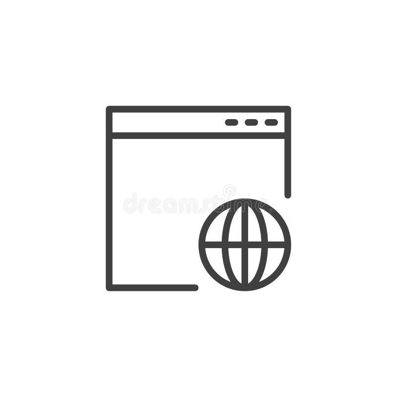 Línea global icono de la página de la página web libre illustration