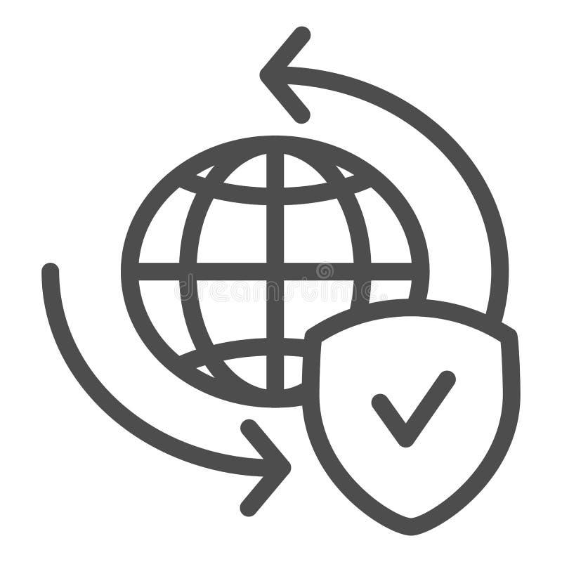 Línea global icono del intercambio Planeta con el ejemplo del vector del escudo aislado en blanco Estilo del esquema del globo y  imágenes de archivo libres de regalías
