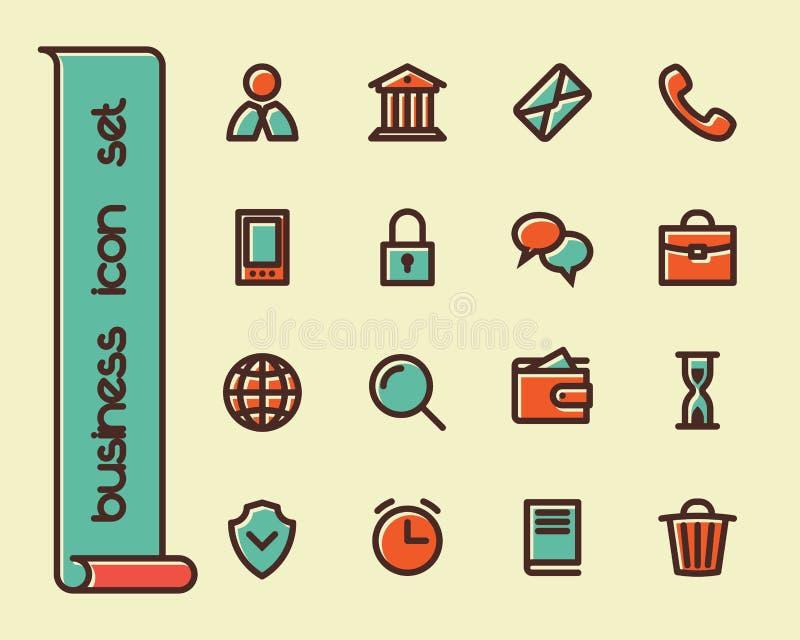 Línea gorda iconos stock de ilustración