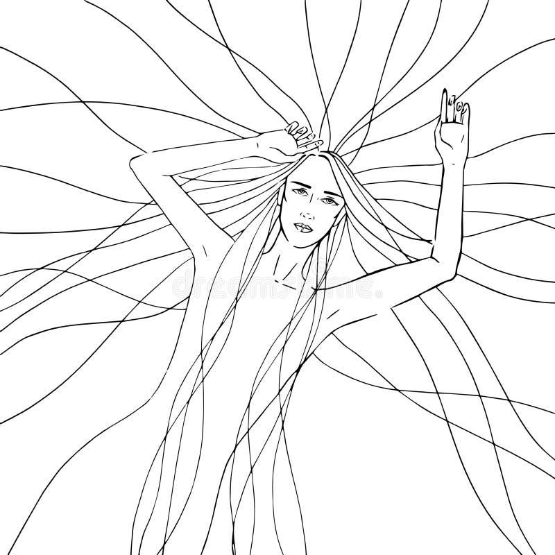 Línea gráfica ejemplo del monocromo libre illustration