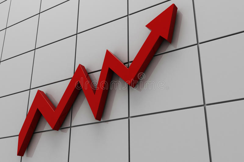 línea gráfica roja 3d stock de ilustración