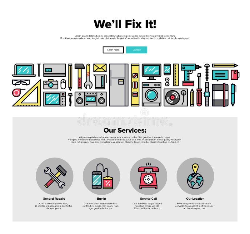 Línea gráficos del plano de servicio de reparación del web stock de ilustración