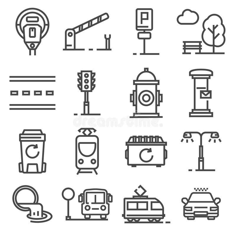 Línea gris iconos del vector de las amenidades de la ciudad fijados ilustración del vector