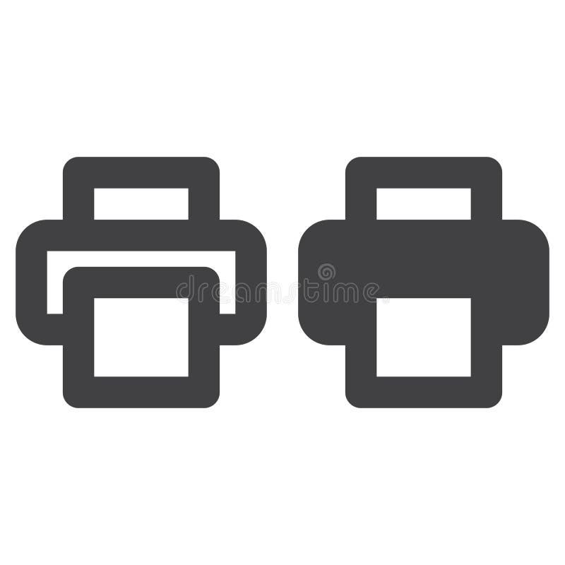 Línea gruesa de la impresora e icono sólido, esquema y pictograma llenado de la muestra del vector, linear y lleno aislados en bl libre illustration