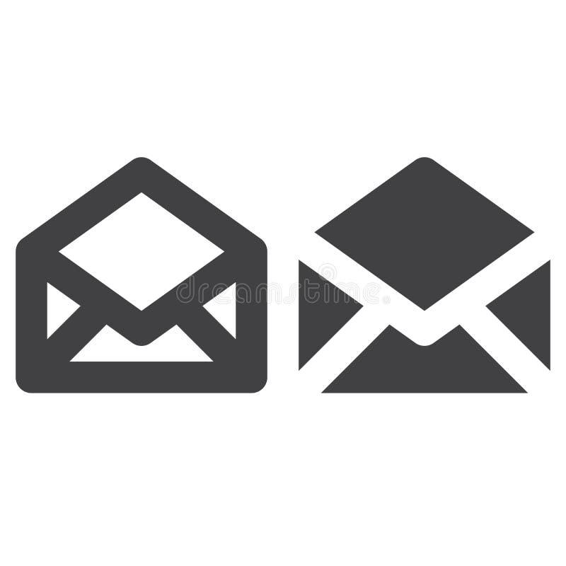 Línea gruesa del sobre e icono sólido, esquema y pictograma llenado de la muestra del vector, linear y lleno aislados en blanco stock de ilustración