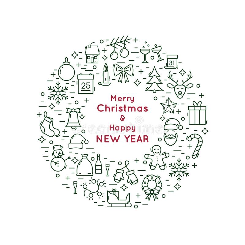 Línea guirnalda de la Navidad y del Año Nuevo del icono stock de ilustración