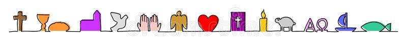 Línea hecha de símbolos cristianos stock de ilustración