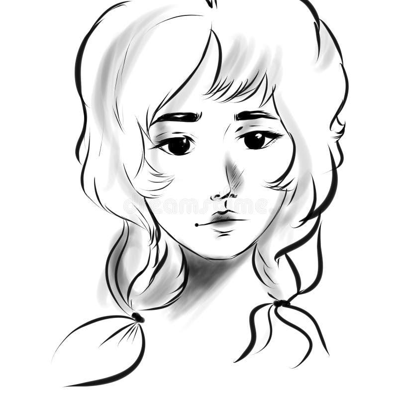 Línea hermosa del negro de la cara del retrato de la muchacha ilustración del vector