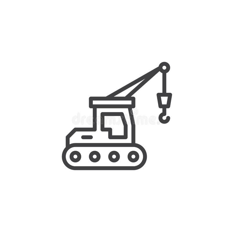 Línea hidráulica icono de la grúa de correa eslabonada ilustración del vector