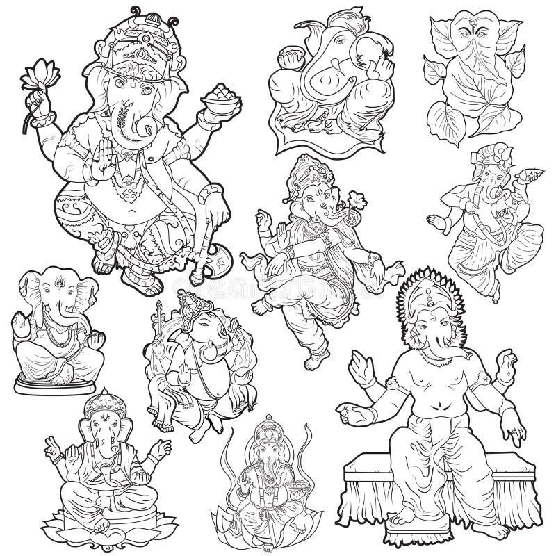 Línea hindú Art Collection de dioses stock de ilustración