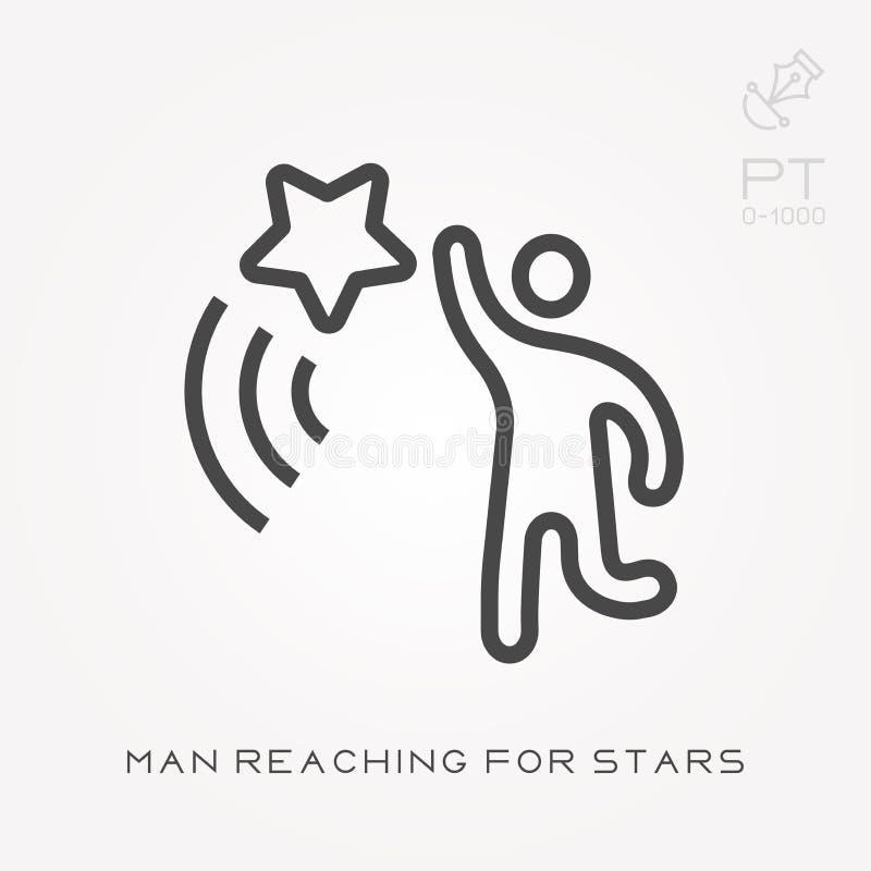 L?nea hombre del icono que alcanza para las estrellas stock de ilustración