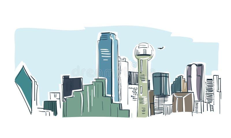 Línea horizonte del paisaje del bosquejo del vector de la ciudad de Dallas del ejemplo libre illustration