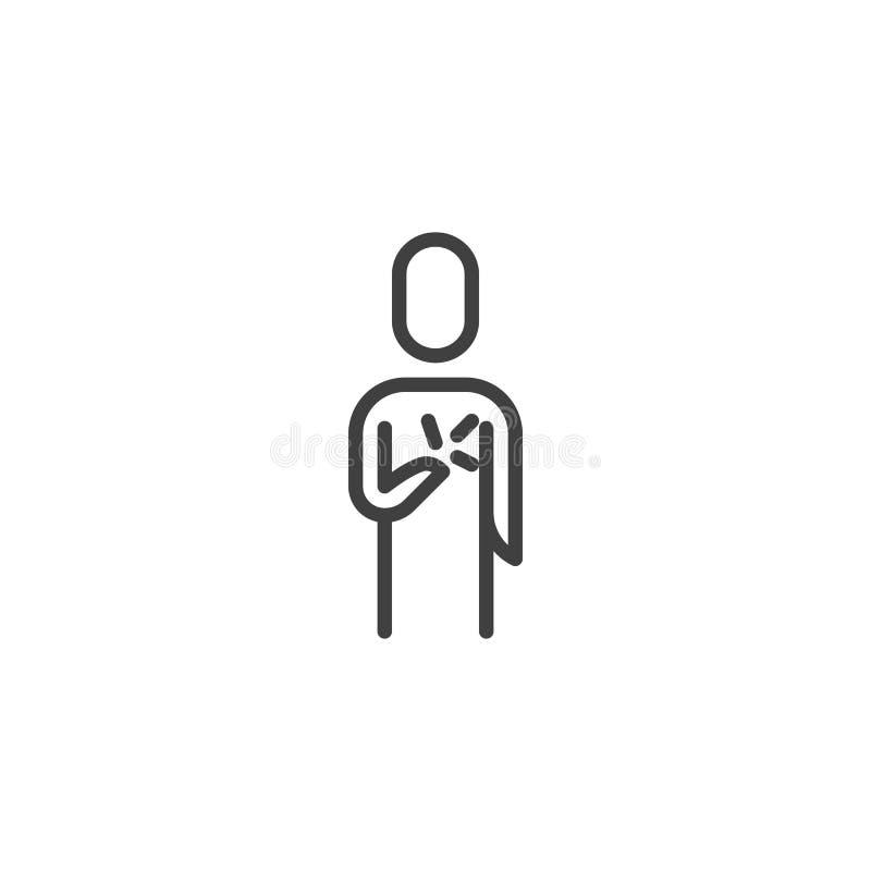 Línea humana icono del dolor del corazón ilustración del vector
