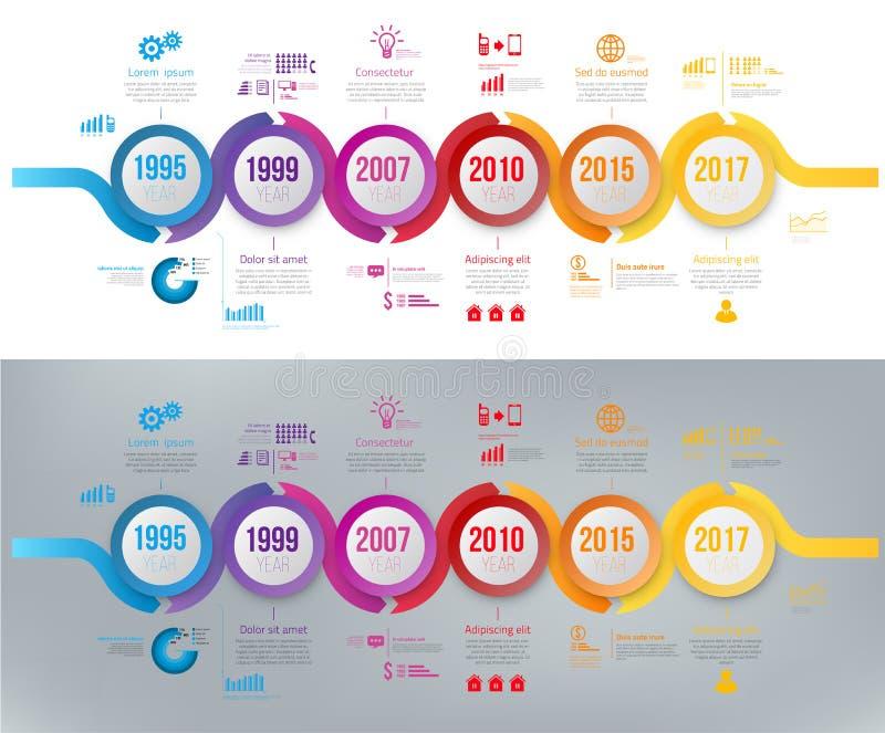Línea hystory del giro excéntrico del colorfull de la plantilla de la cronología de la flecha de Infographics libre illustration