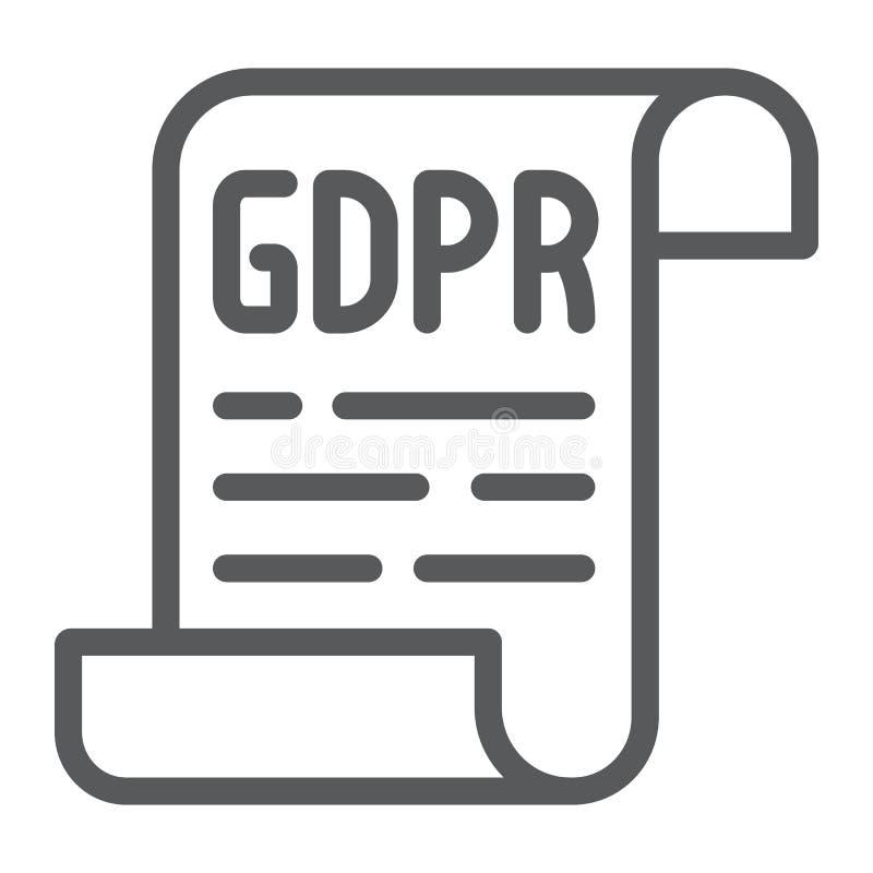 Línea icono, aislamiento de la política de GDPR y proteger, muestra del documento del gdpr, gráficos de vector, un modelo line ilustración del vector