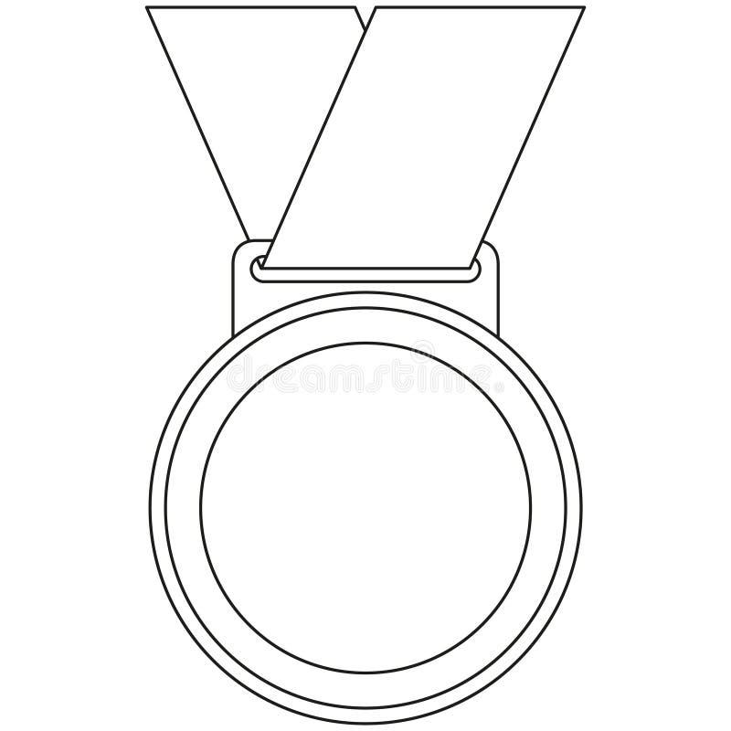 Línea icono blanco y negro de la medalla del ganador del arte ilustración del vector