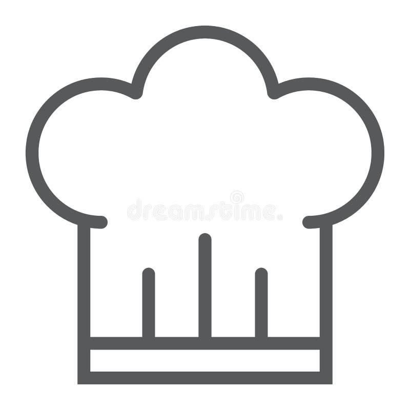 Línea icono, cocina y el cocinar del sombrero del cocinero ilustración del vector