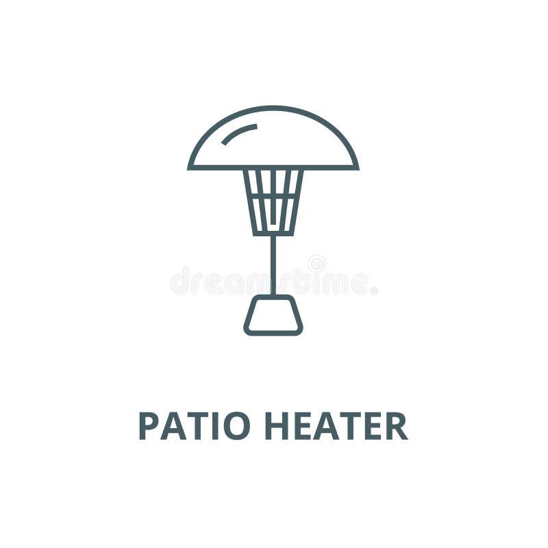 Línea icono, concepto linear, muestra del esquema, símbolo del vector del calentador del patio ilustración del vector