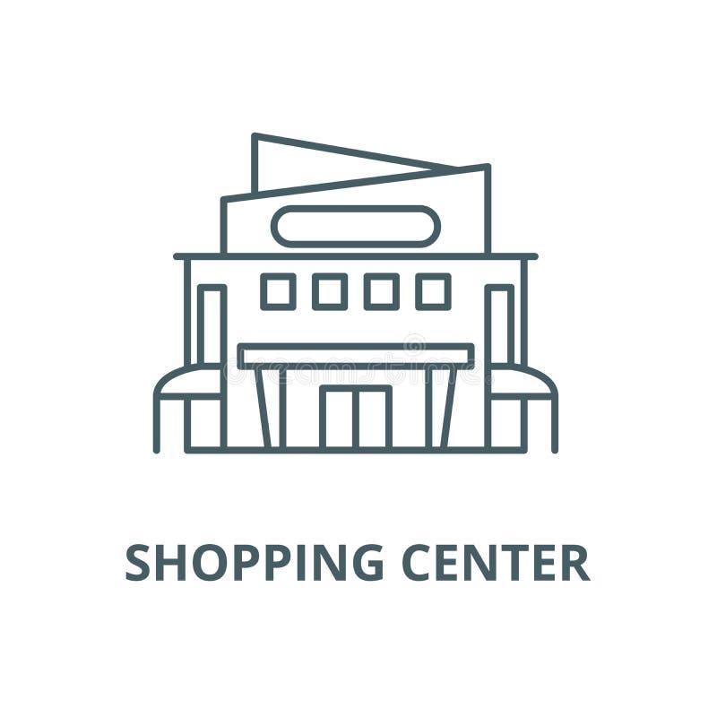 Línea icono, concepto linear, muestra del esquema, símbolo del vector del centro comercial ilustración del vector