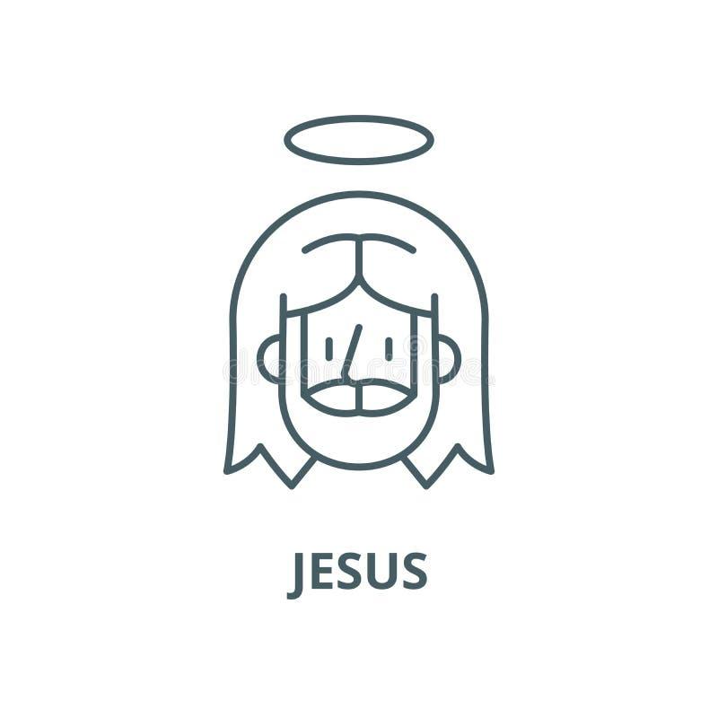 Línea icono, concepto linear, muestra del esquema, símbolo del vector de Jesús stock de ilustración