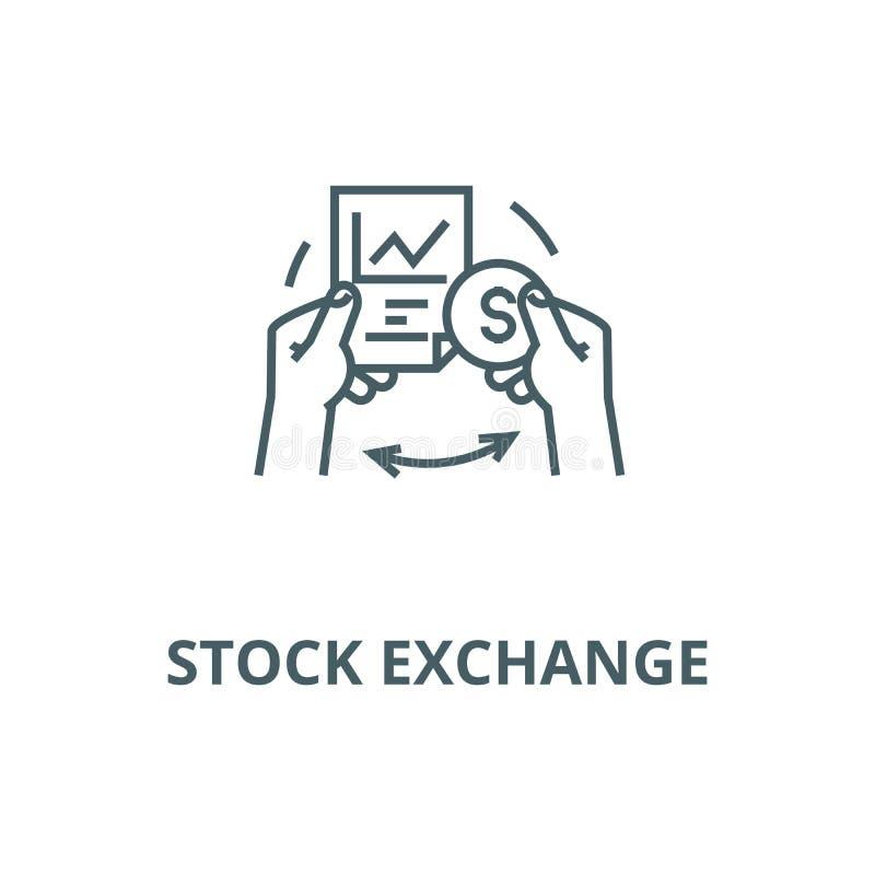 Línea icono, concepto linear, muestra del esquema, símbolo del vector de la bolsa de acción stock de ilustración