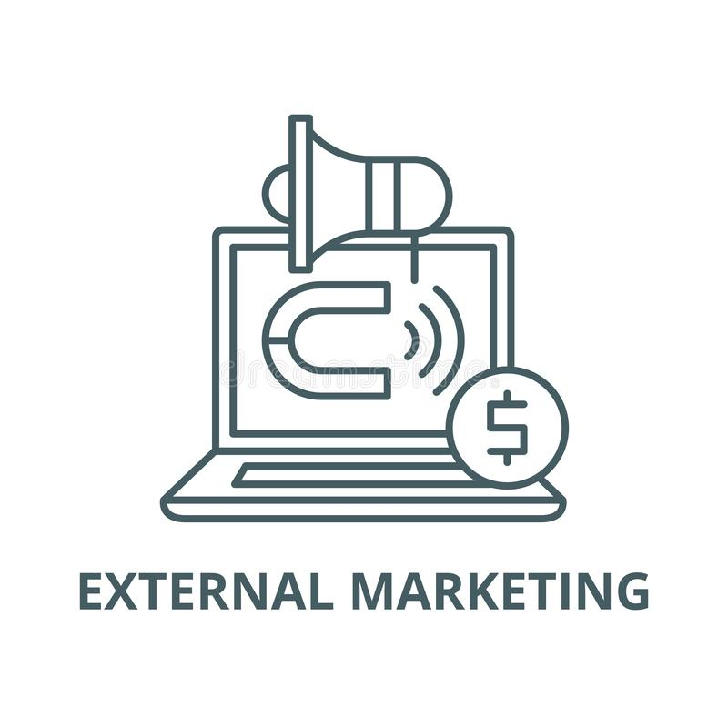 Línea icono, concepto linear, muestra del esquema, símbolo del vector de la comercialización externa stock de ilustración