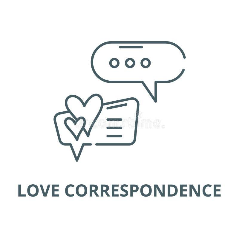 Línea icono, concepto linear, muestra del esquema, símbolo del vector de la correspondencia del amor stock de ilustración