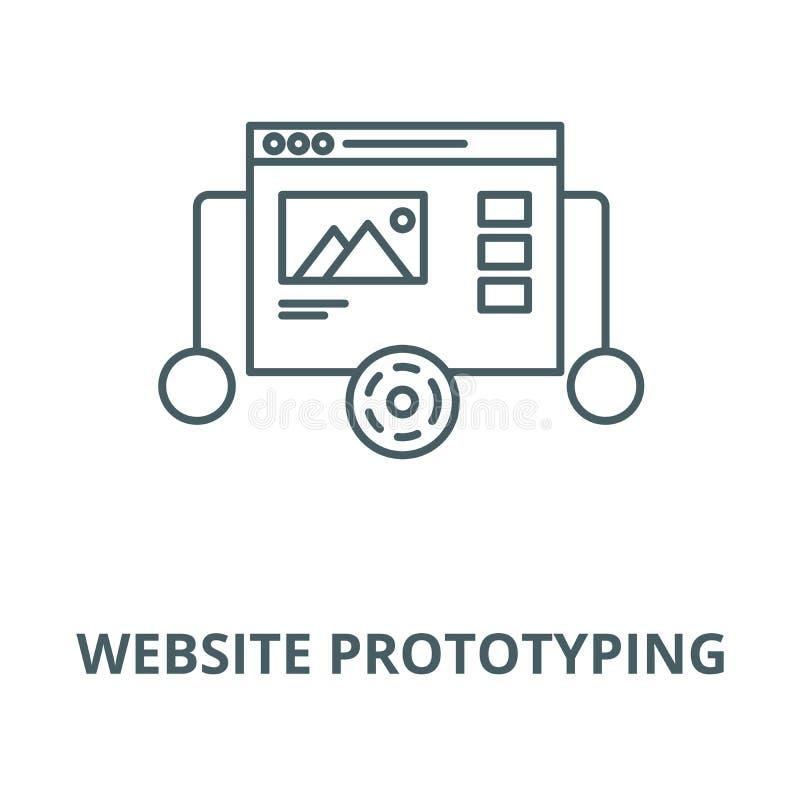Línea icono, concepto linear, muestra del esquema, símbolo del vector de la creación de un prototipo de la página web stock de ilustración