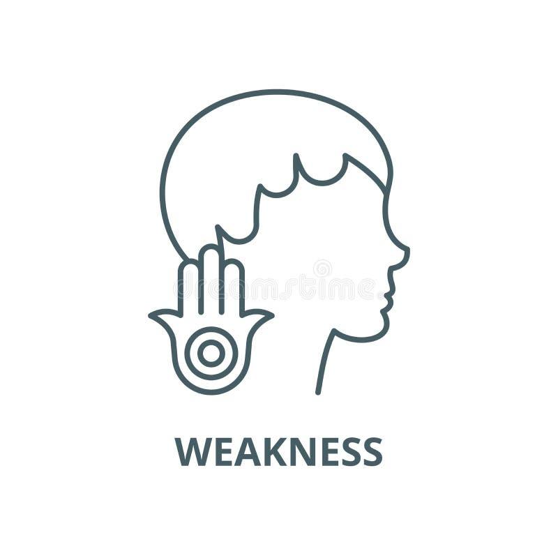 Línea icono, concepto linear, muestra del esquema, símbolo del vector de la debilidad libre illustration