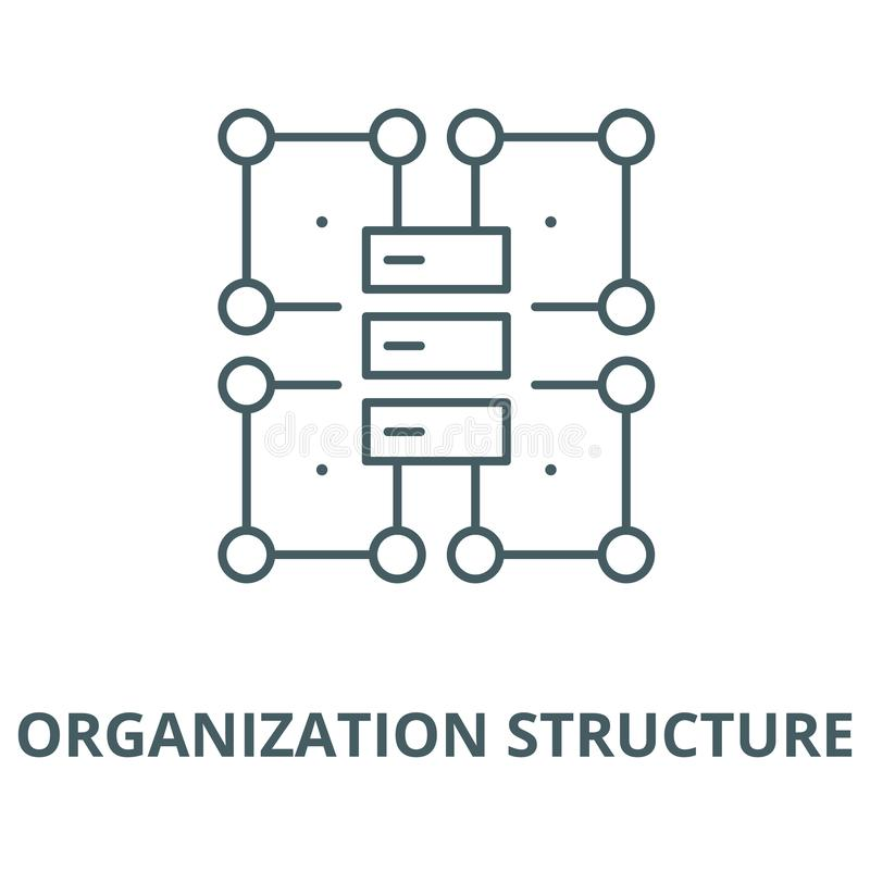 Línea icono, concepto linear, muestra del esquema, símbolo del vector de la estructura de organización stock de ilustración