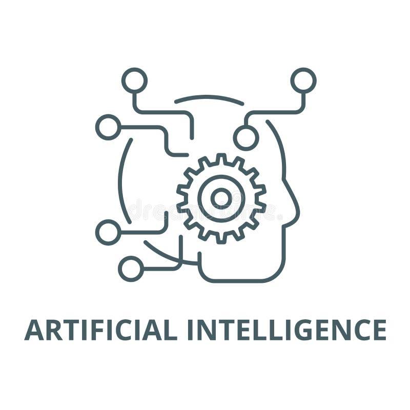 Línea icono, concepto linear, muestra del esquema, símbolo del vector de la inteligencia artificial stock de ilustración
