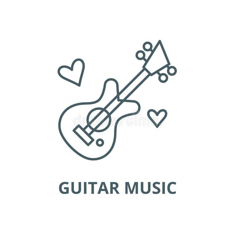 Línea icono, concepto linear, muestra del esquema, símbolo del vector de la música de la guitarra ilustración del vector