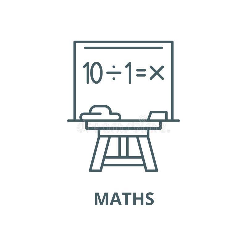 Línea icono, concepto linear, muestra del esquema, símbolo del vector de la matemáticas ilustración del vector