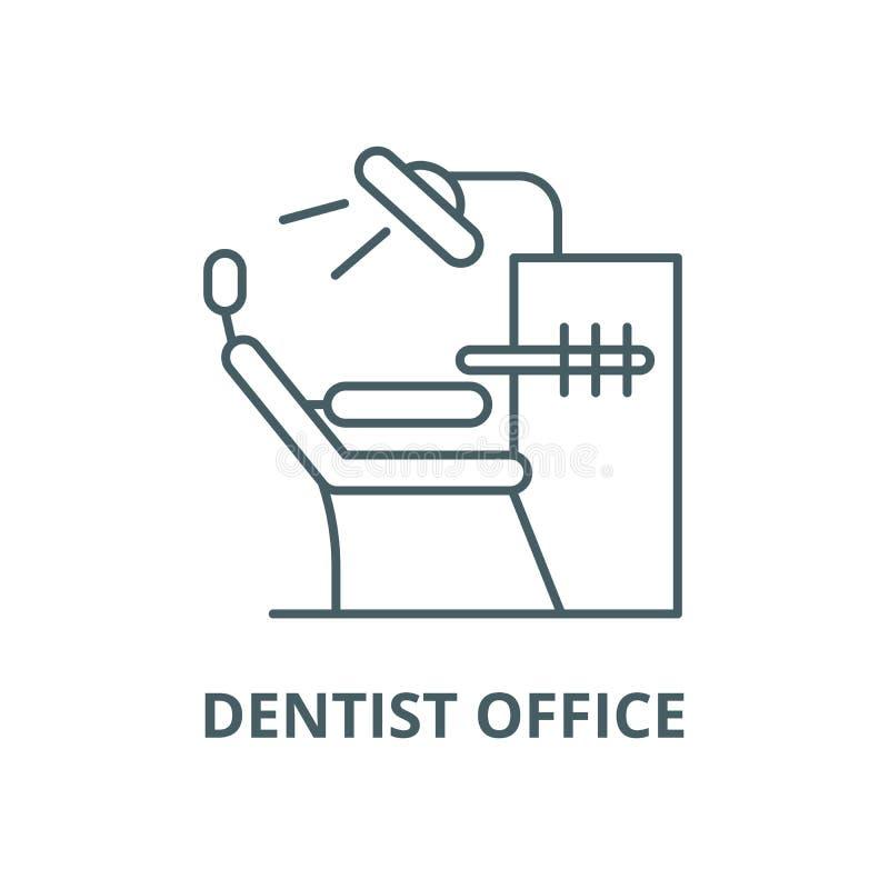 Línea icono, concepto linear, muestra del esquema, símbolo del vector de la oficina del dentista stock de ilustración
