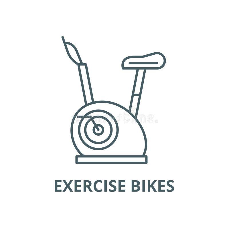 Línea icono, concepto linear, muestra del esquema, símbolo del vector de las bicicletas estáticas ilustración del vector