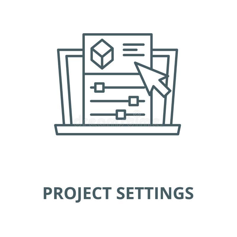 Línea icono, concepto linear, muestra del esquema, símbolo del vector de las configuraciones del proyecto libre illustration