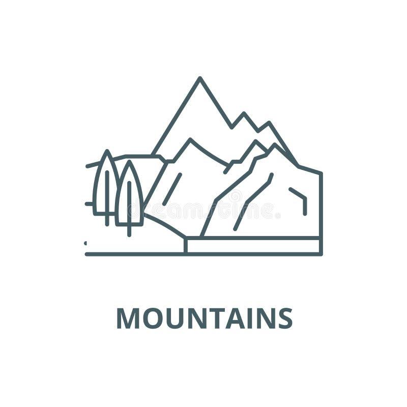 Línea icono, concepto linear, muestra del esquema, símbolo del vector de las montañas libre illustration