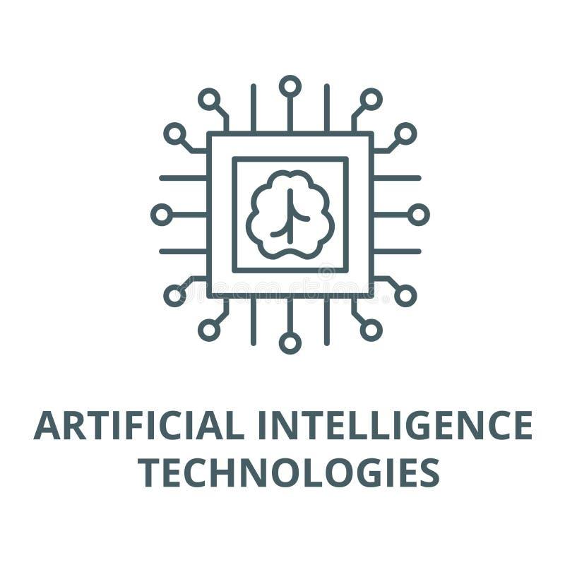 Línea icono, concepto linear, muestra del esquema, símbolo del vector de las tecnologías de inteligencia artificial stock de ilustración