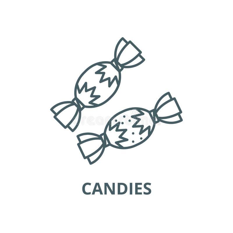 Línea icono, concepto linear, muestra del esquema, símbolo del vector de los caramelos stock de ilustración