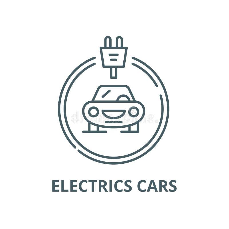 Línea icono, concepto linear, muestra del esquema, símbolo del vector de los coches de las eléctricas stock de ilustración