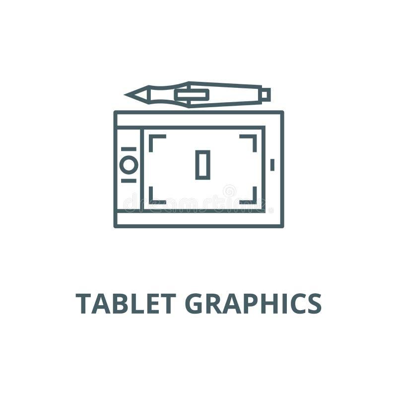 Línea icono, concepto linear, muestra del esquema, símbolo del vector de los gráficos de la tableta ilustración del vector
