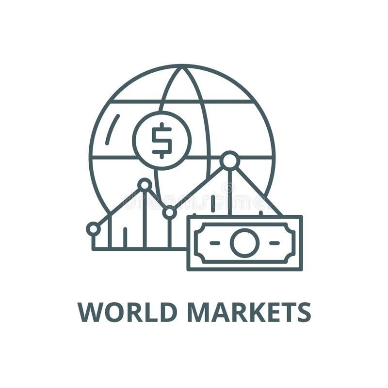Línea icono, concepto linear, muestra del esquema, símbolo del vector de los mercados mundiales stock de ilustración